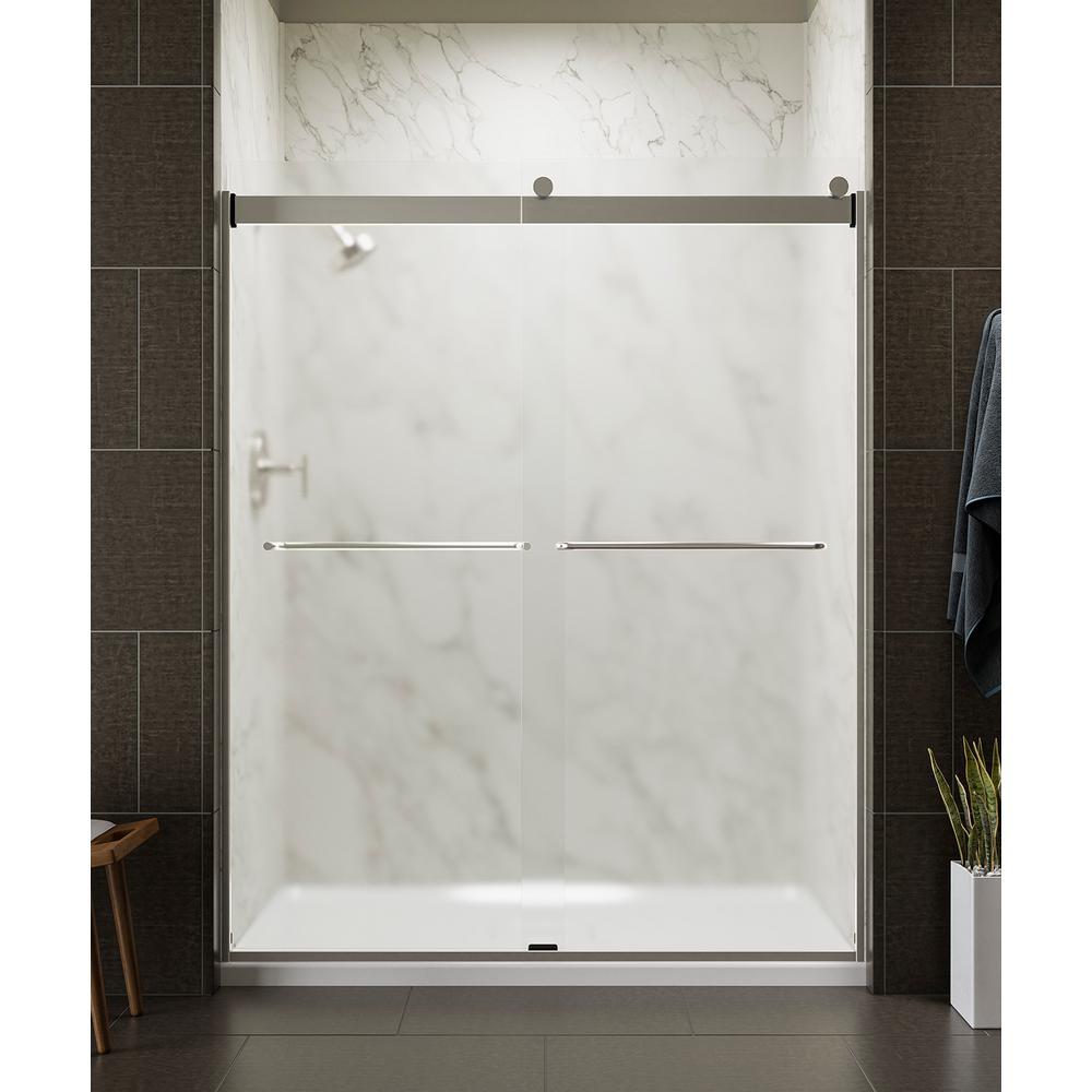 KOHLER Levity 59 in. x 74 in. Frameless Sliding Shower Door in Nickel with Towel Bar-K-706015-D3-MX - The Home Depot #framelessslidingshowerdoors