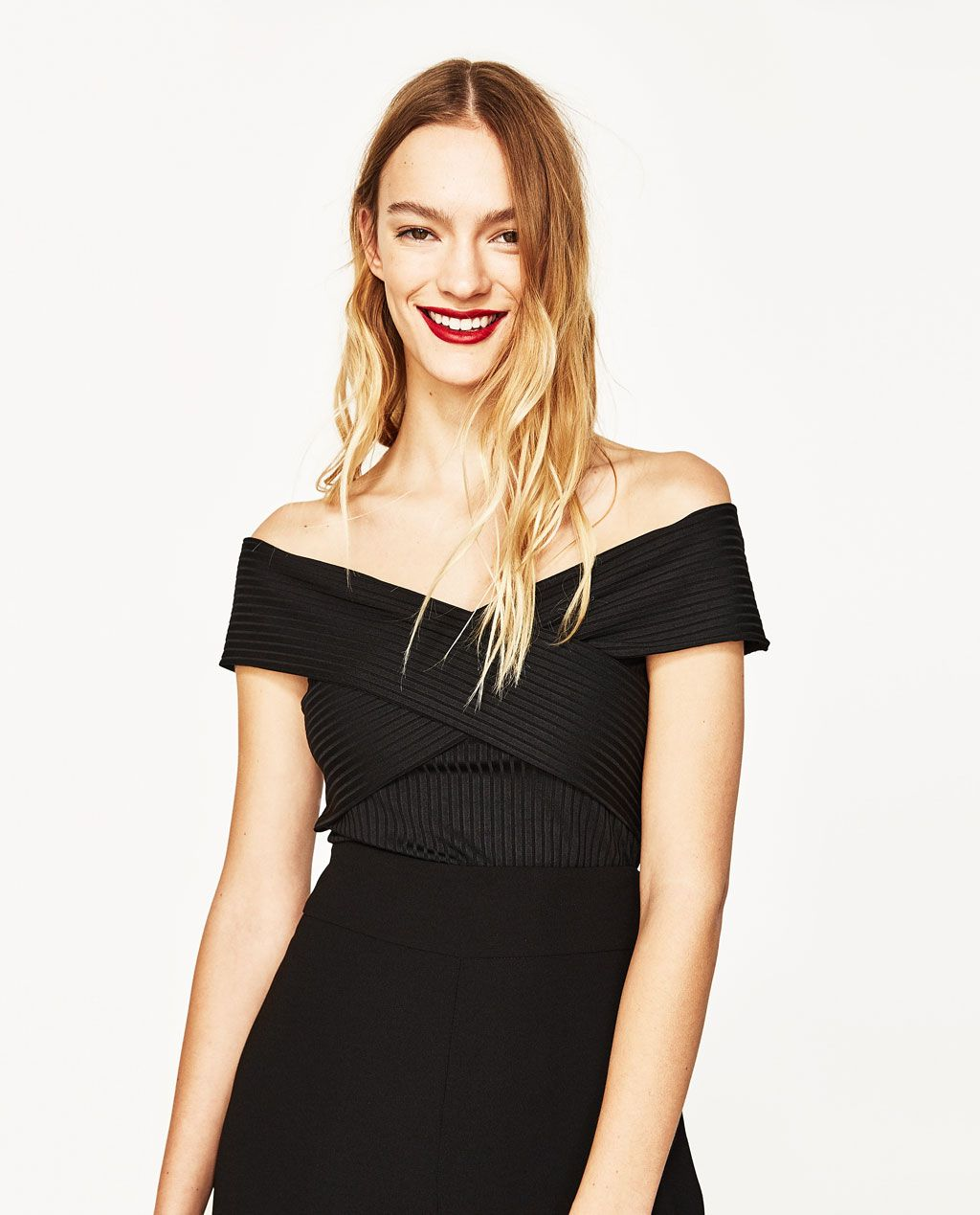 Image 2 of RIBBED OFFTHESHOULDER BODYSUIT from Zara