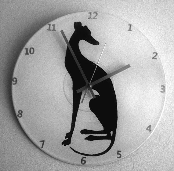 Dog Lurcher Greyhound Upcycled Vinyl Record Clock Gift Homewares Wall Clock Greyhound Lurcher Grey Hound Dog