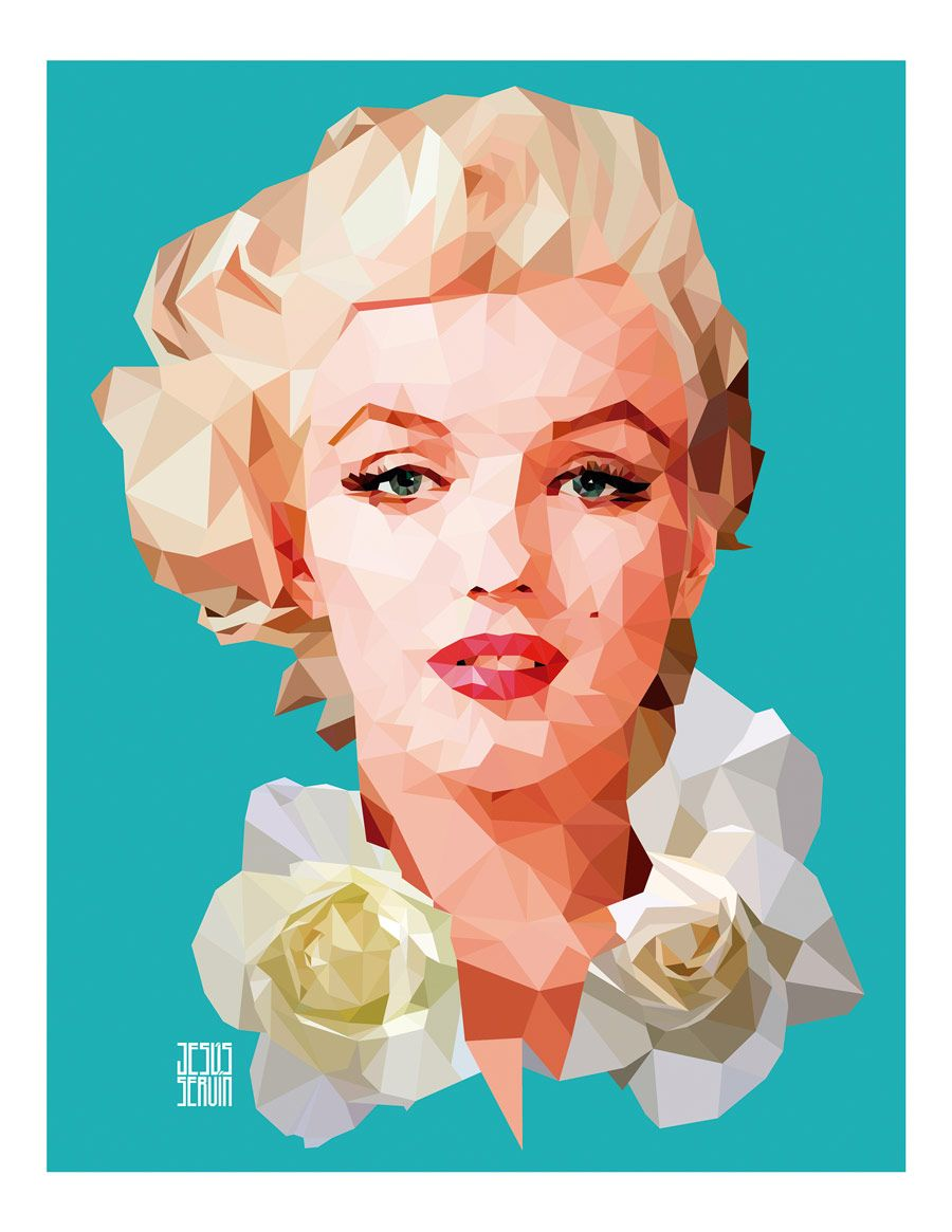 Jesus Servin, Marilyn Monroe - Low poly. Retrato ilustrado al estilo ...