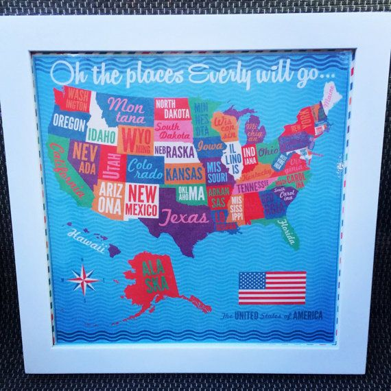 12x12 Personalized United States Travel Map Bulletin Board with