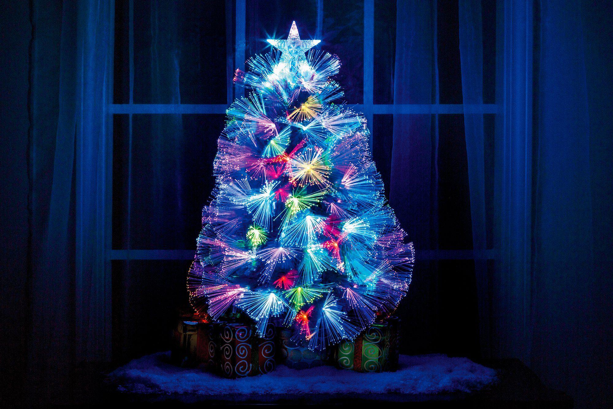 White Fiber Optic Christmas Tree 25h Tabletop Decoration