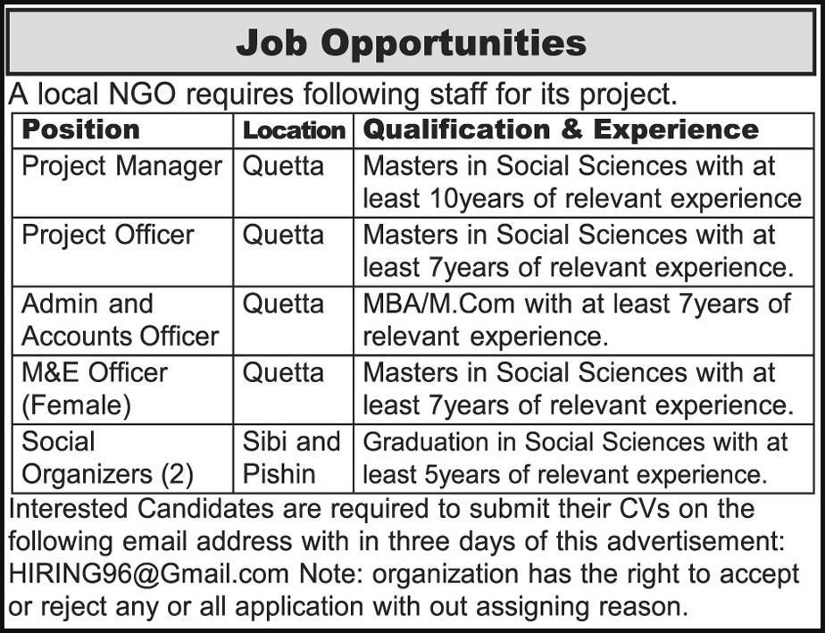 NGO Jobs 2018 In Quetta For Managers And Officers    www - logistics officer job description