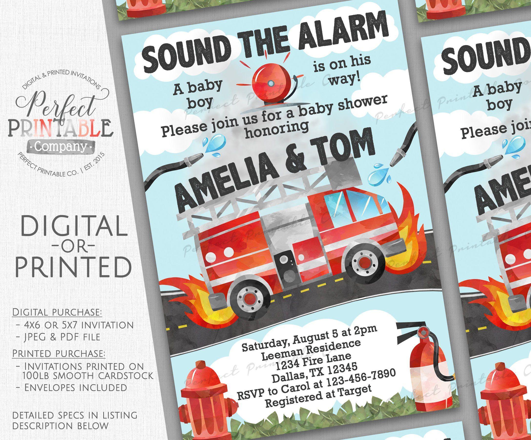 Firetruck Baby Shower Invitation Fire Truck Baby Shower Invitation