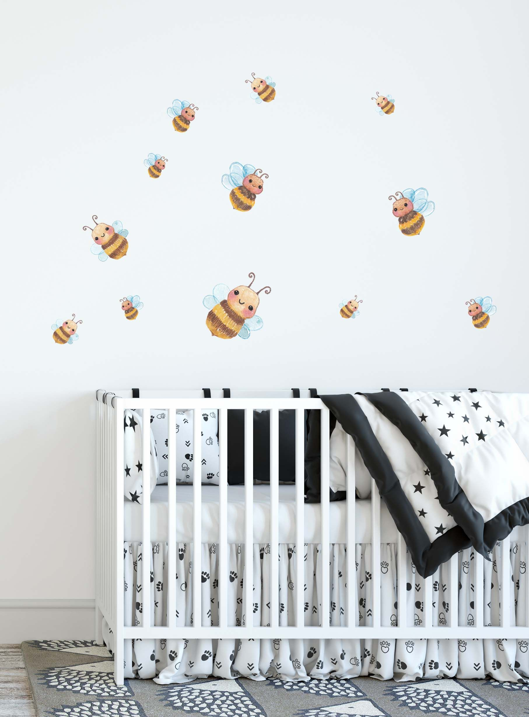 Bee Wall Decals Bee Fabric Stickers Toddler Watercolour Room Decor Animal Wall Stickers Butterfly Fabric Wall Decal Modern Nursery Decor In 2020 Fabric Wall Decals Modern Nursery Decor Nursery Wall Decals