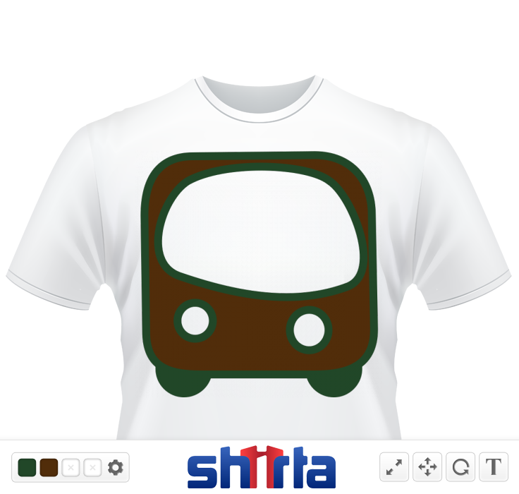 A bus coming towards you colors brown and green.