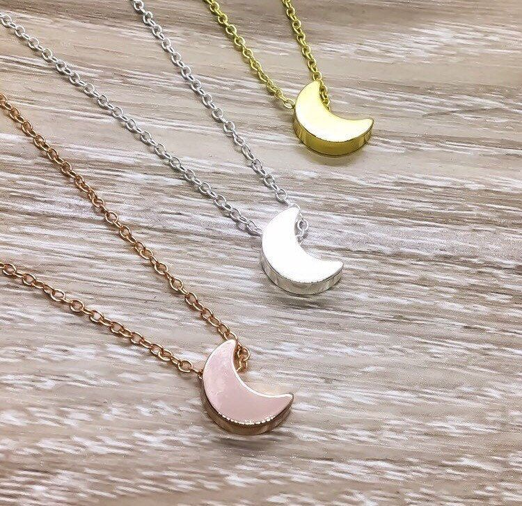 Photo of Delicate Moon Necklace, Rose Gold Celestial Jewelry, Minimal Necklace, Double Horn Necklace, Lunar Eclipse Necklace, Dainty Jewelry, Friends