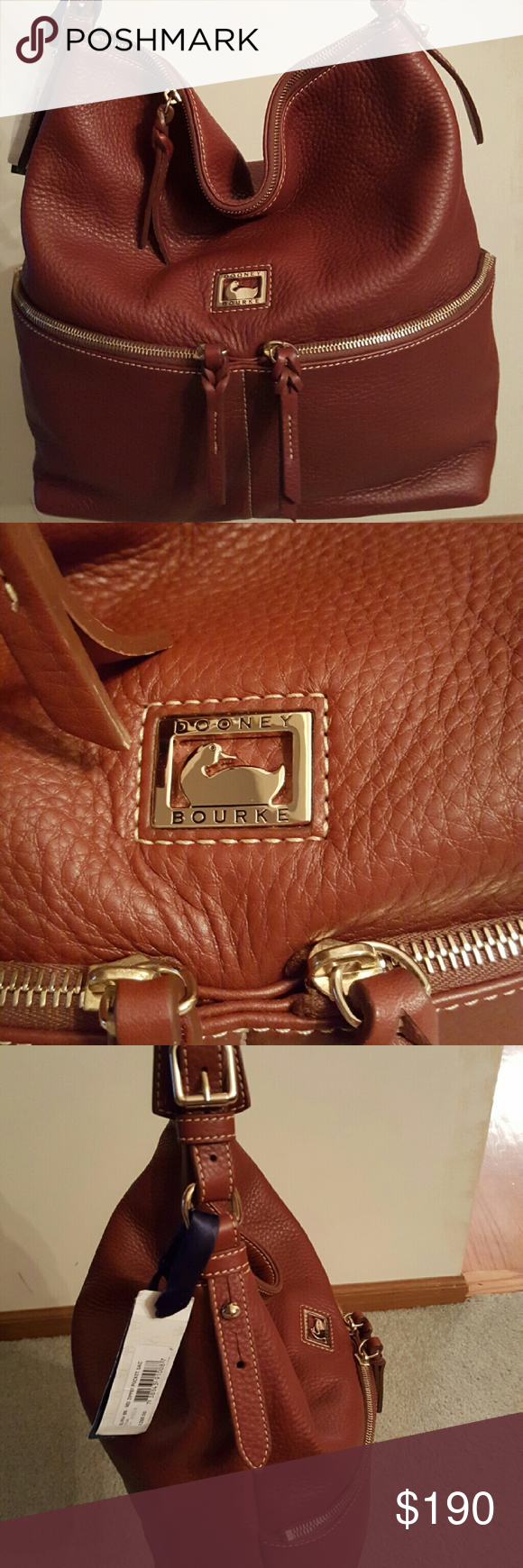 "Dooney & Bourke Brown leather Medium Zipper Pocket Sac H 9.5"" x W 5.75"" x L 12"" Two outside zip pockets. One inside zip pocket. Two inside pockets. Cell phone pocket. Inside key hook. Zipper closure. Strap drop length 10"". A true Dooney classic, Dillen leather is known for its soft, pebbled texture and exceptional durability. This hobo is one of the original Dooney & Bourke handbags. it's simple and sporty, perfect for when you're out and about the town. Dooney & Bourke Bags Hobos"
