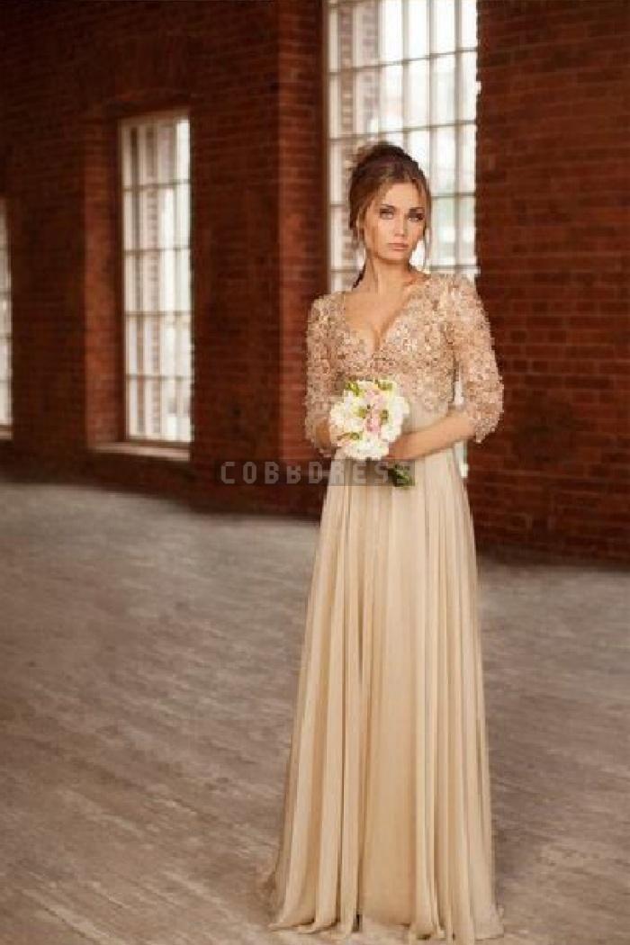 V-neck Half Sleeves A-line Chiffon Beading Evening Dress