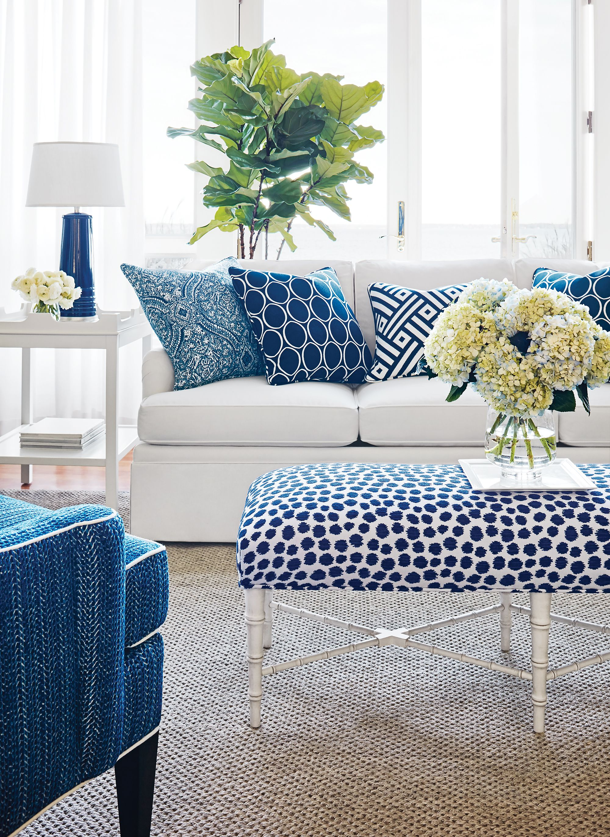 outstanding navy white living room | Navy & White from Calypso Collection | Lax & Lux Living ...