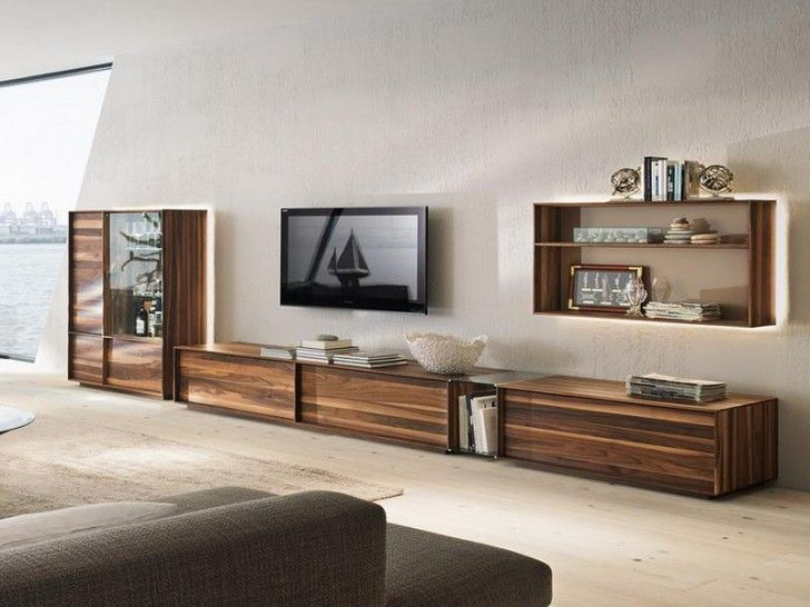 Bon Furniture, Extra Long Media Cabinet Made From Wood Floating TV Installation  A Floating Shelving Unit For Organizing The Decorative Items Books And  Picture ...
