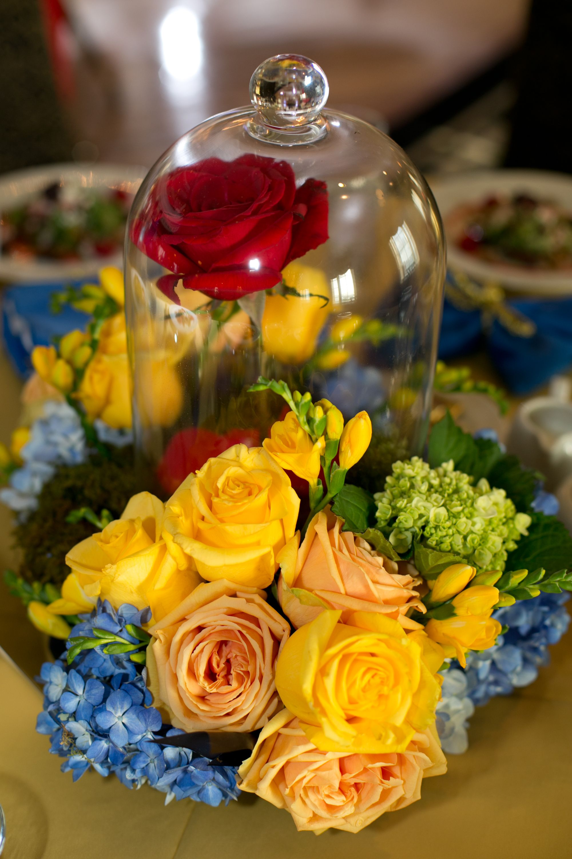 Close up of enchanted rose centerpiece wedding ideas