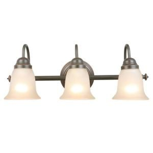 Hampton Bay Springston 3 Light Oil Rubbed Bronze Vanity With Tea Stained Glass Shades