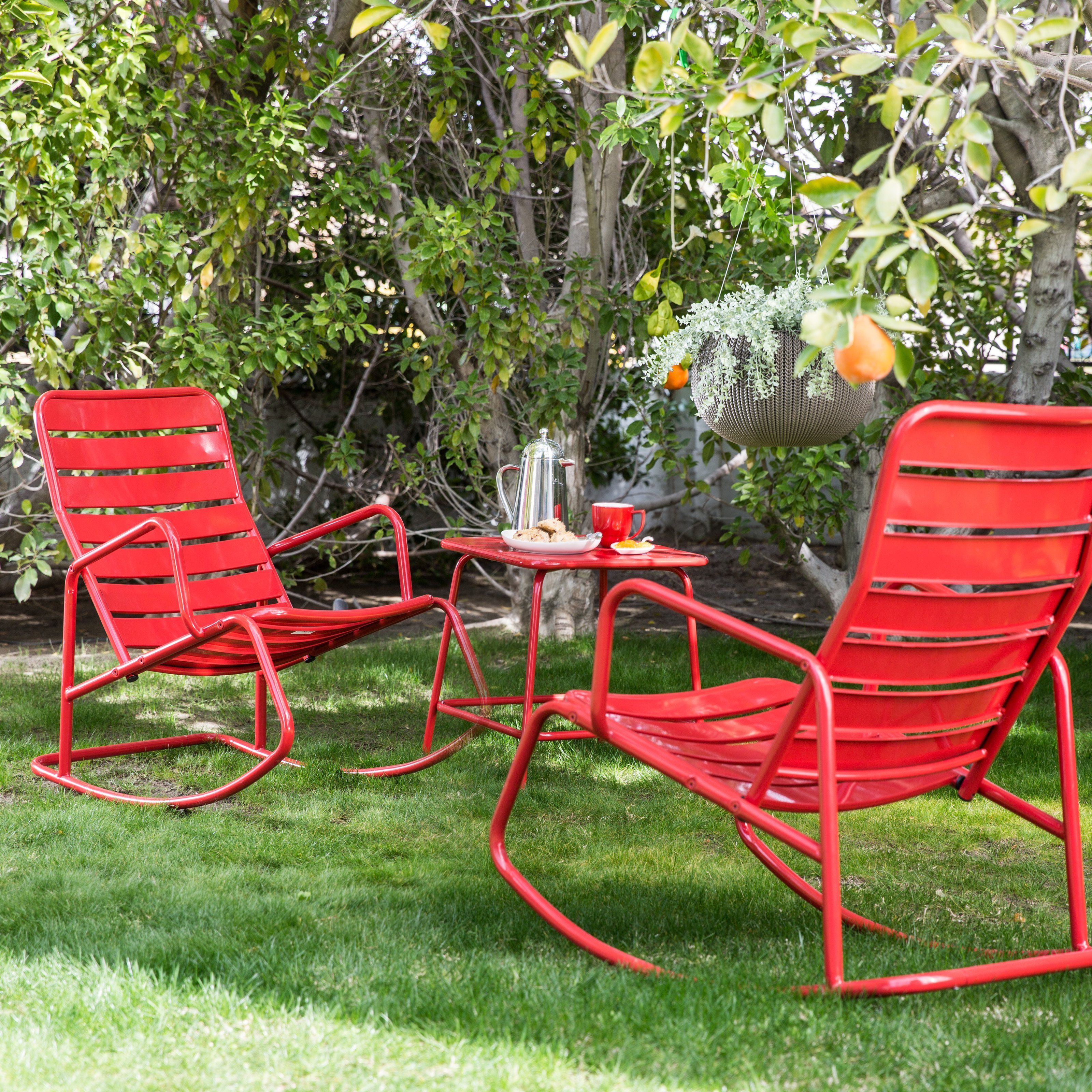 Beau Belham Living Adley Outdoor Metal Rocking Chair Set With Side Table | From  Hayneedle.com