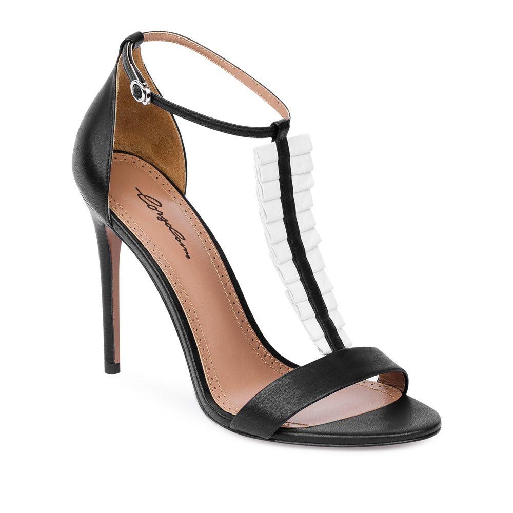 Frillembellished black leather sandals corsocomo victorian