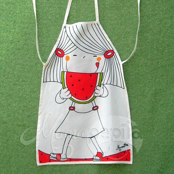 Delantales para ni os confeccionados en loneta y pintados - Delantales y gorros de cocina para ninos ...