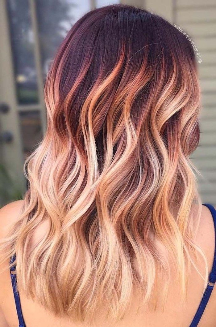 Dark Red To Blonde Curly Medium Length Hair What Is Ombre Hair Blue Straps In 2020 Ombre Hair Blonde Red Blonde Hair Blonde Ombre