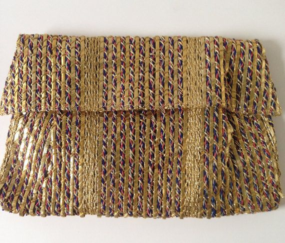 Metallic Woven Envelope Clutch with Original by PaintItWhiteDecor