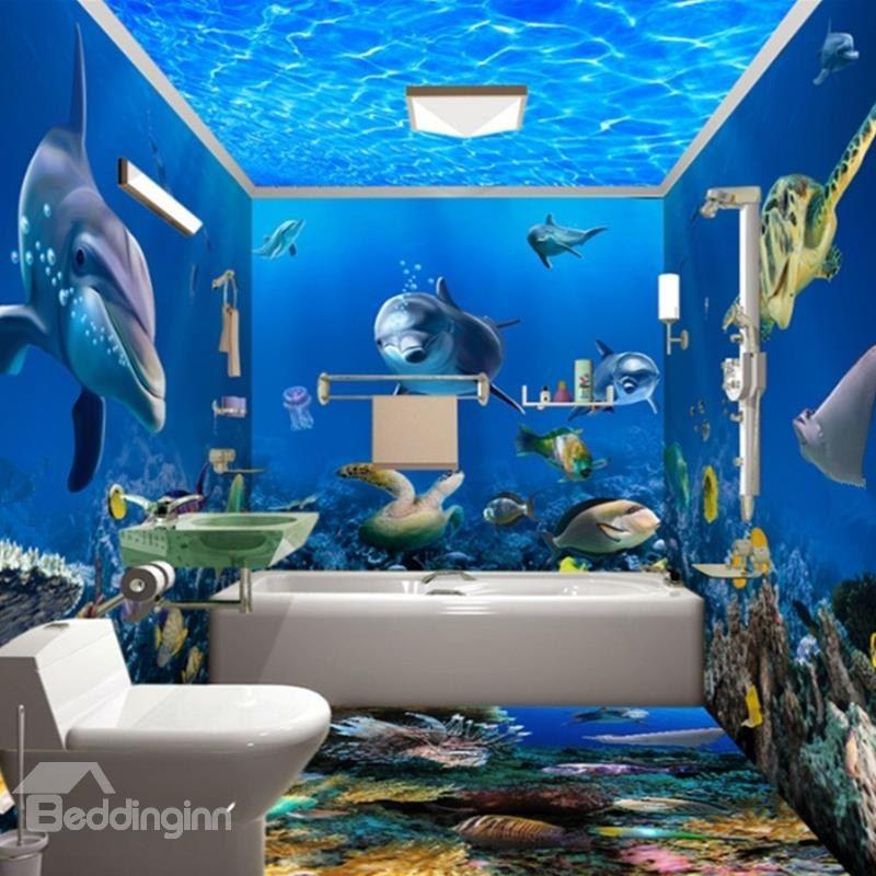 Underwater Animals 3d Waterproof Bathroom Wall Murals Bathroom Wall Mural Mermaid Decor Bedroom Baby Nursery Wall Art