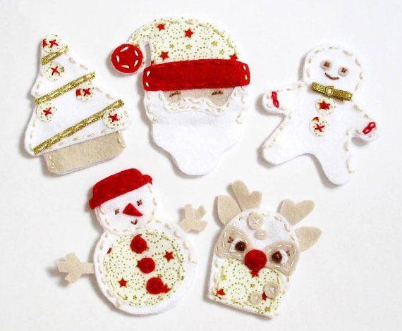 White Christmas - set of 5 wool felt finger puppets, pretend play, Perth