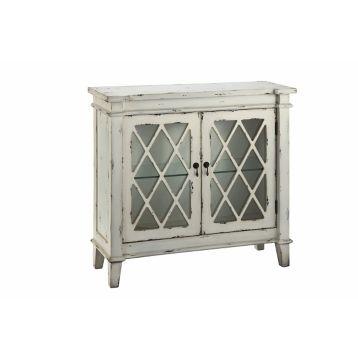 Distressed Off White Glass 2 Door Accent Cabinet Doors Bedrooms