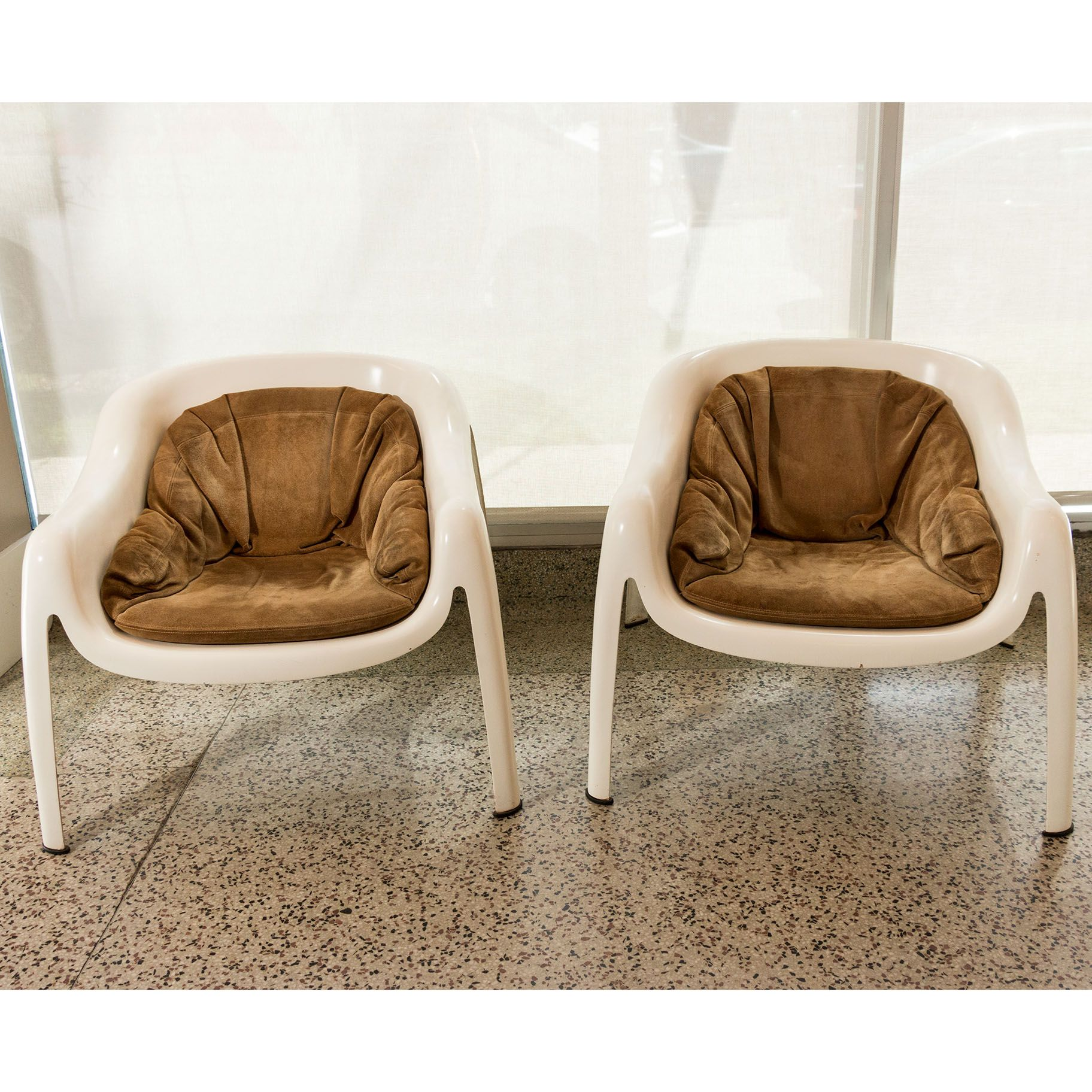 Pair Of 1960s Mid Century Fiberglass Chairs With Suede Cushions