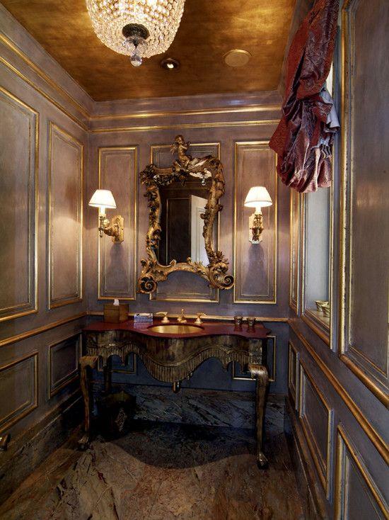Gold Ceiling Gold Leaf Gold Mirror Gold Sconce Gold Sink