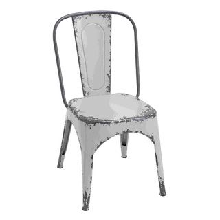 Charmant Distressed White Metal Curved Backrest Chair | Overstock.com Shopping    Great Deals On Dining Chairs