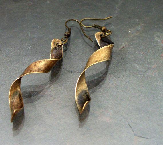 Twisted Brass Earrings. Long Spirals, Modern, Hammered Spirals, Grunge Textured, Torch Patina