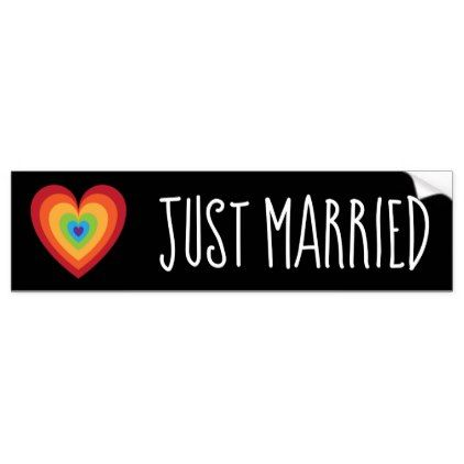 Just married retro rainbow heart for newlweds bumper sticker wedding gifts marriage