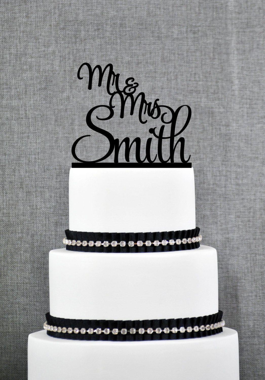 Custom script mr and mrs cake topper last name cake topper