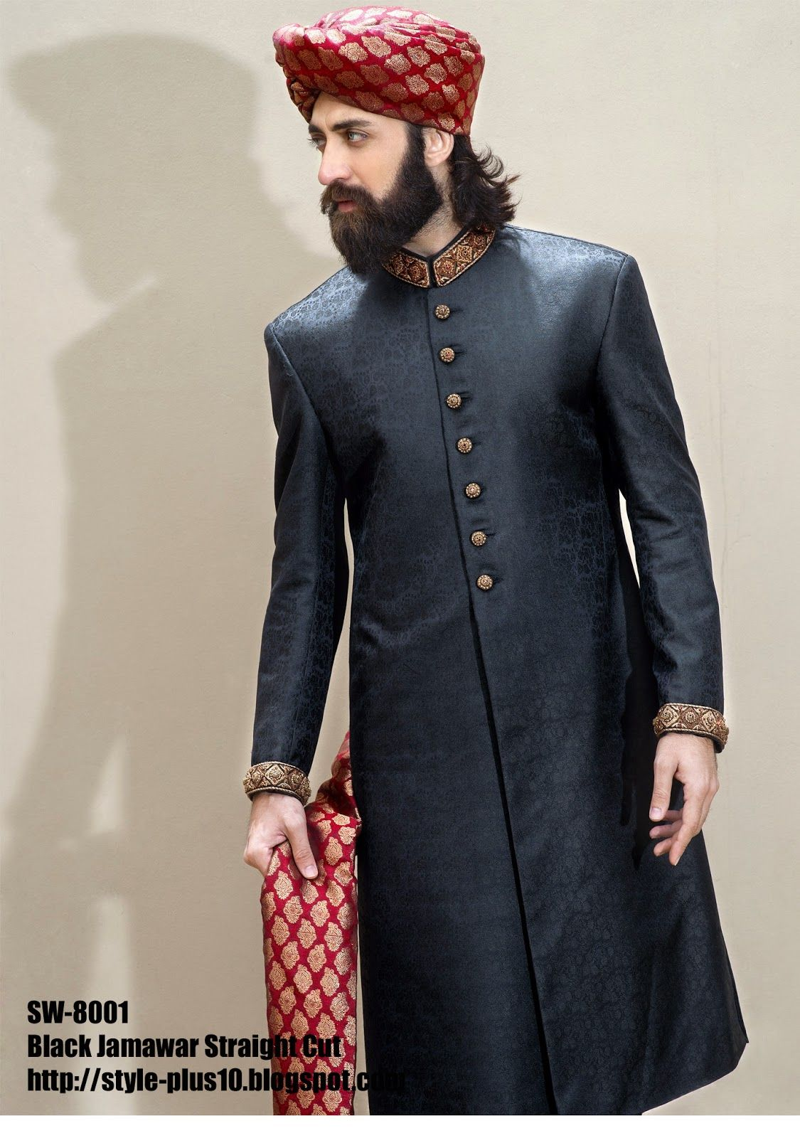 Black Jamawar Straight Cut Sherwani with red and gold Royal headgear