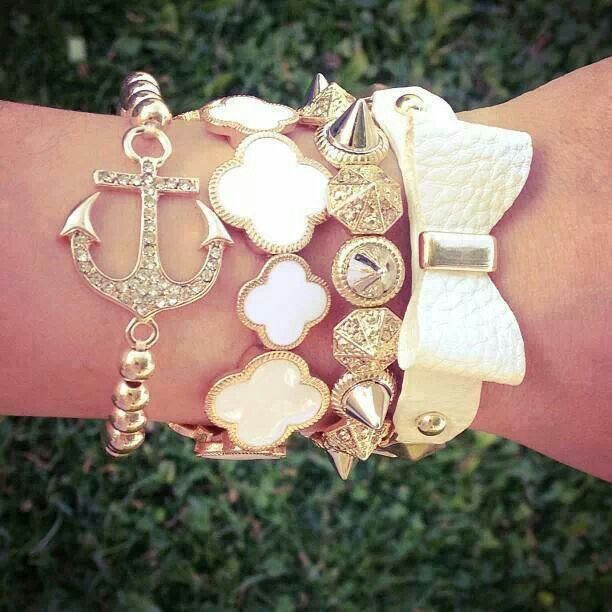 Ivory & gold arm party