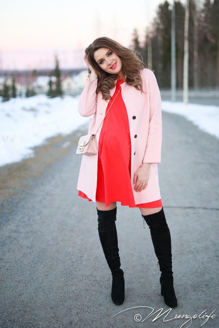 Persimmon maternity dress w/ matching smile, blush coat, black OTK boots