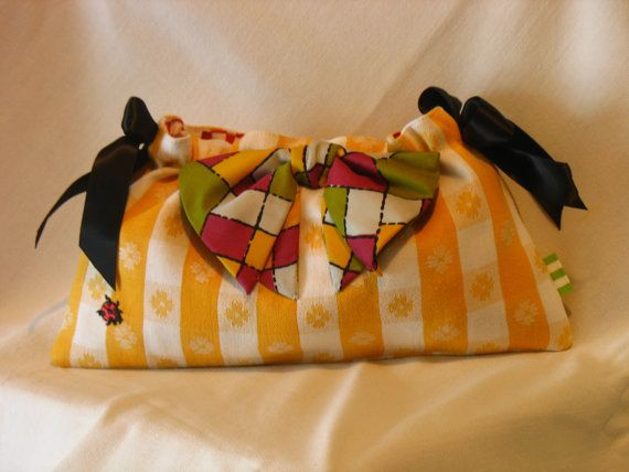 Yellow Plaid Picnic Ribbon Clutch  by fancibags on by fancibags, $45.00