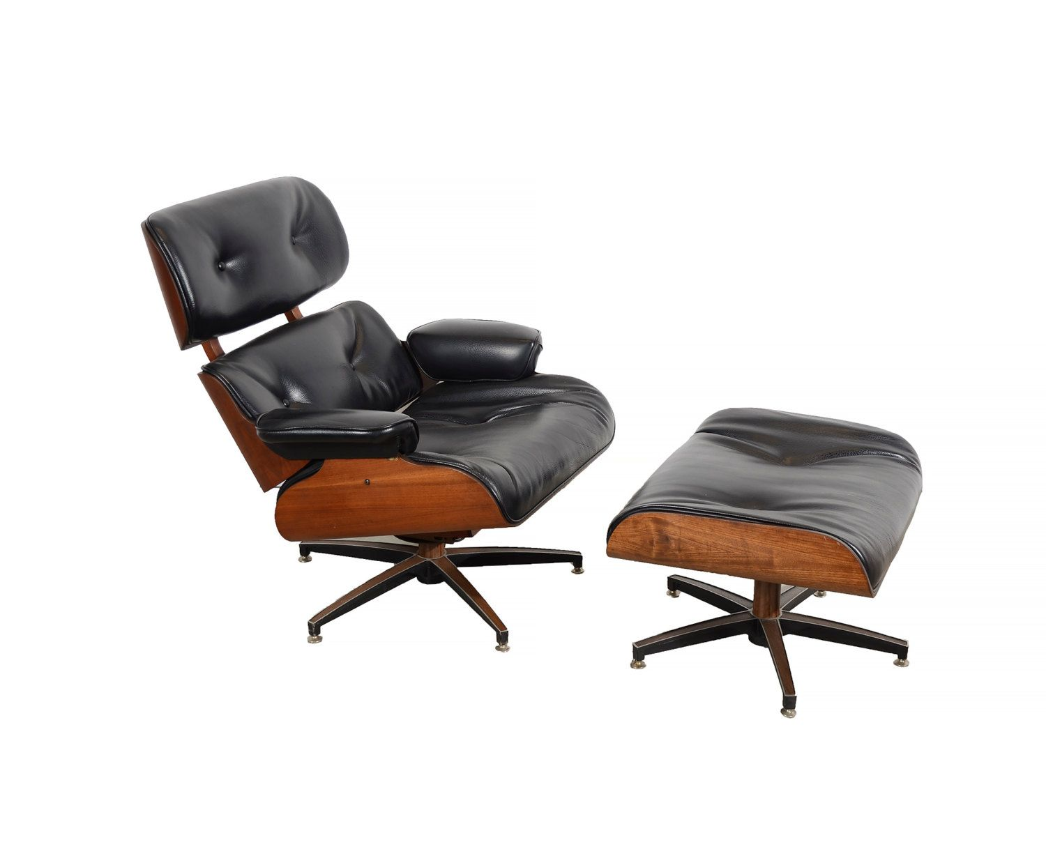Selig chair and ottoman - Eames Black Leather Lounge Chair And Ottoman Selig Mid Century Modern By Hearthsidehome On Etsy
