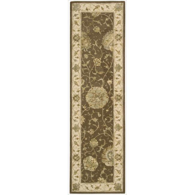 Nourison 3000 Hand-tufted Brown Rug (2'6 x 12') Runner (1), Size 2'6 x 12' (Silk, Floral)