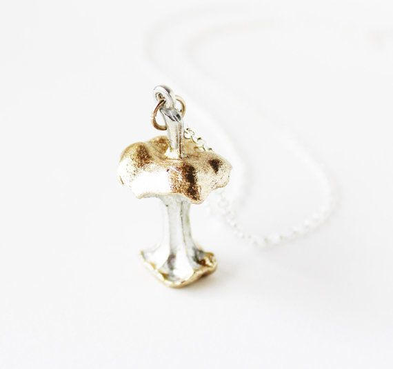 Gold glitter eaten apple core pendant  silver necklace by Bunnys, $26.00