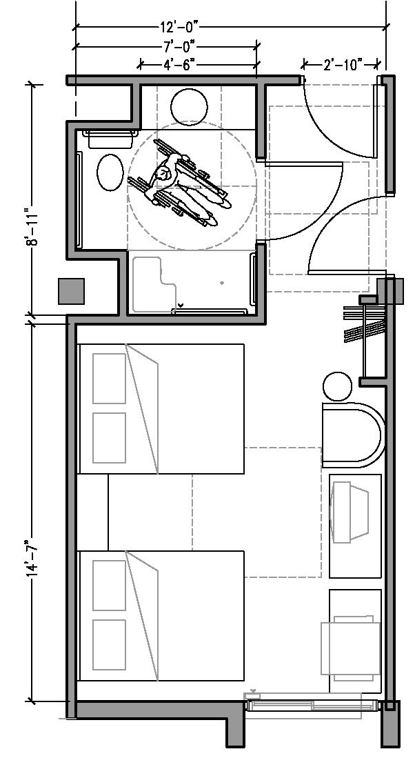 PLAN 3b: ACCESSIBLE 12 ft wide hotel room based on 2004 ADAAG.