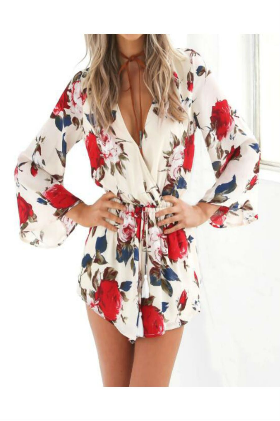 44985b5be2a ... flowers print women jumpsuit shorts fashion lace-up playsuit macacao.  This item is shipped in 48 hours