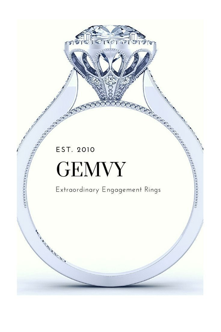 Unique vintage style halo diamond engagement ring