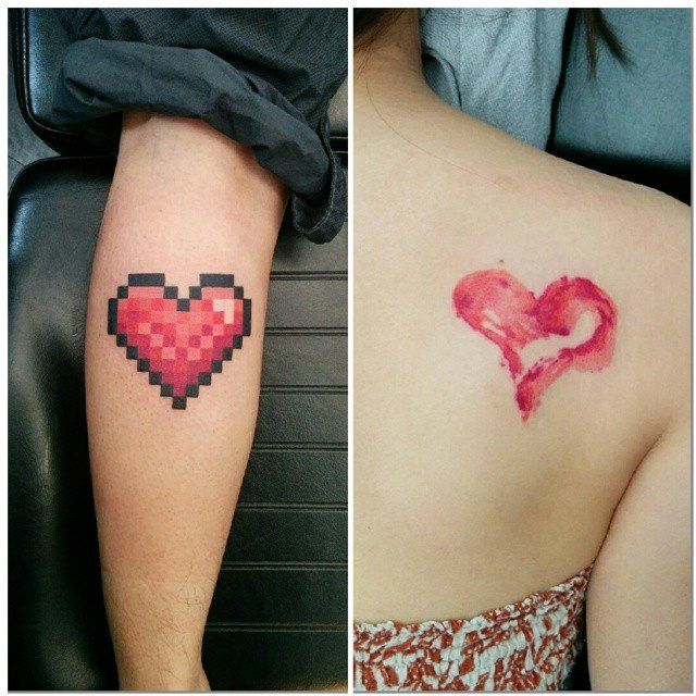 Chronic Ink Tattoo - Toronto Tattoo One heart done in a water colour style and the other in pixels by Miss Lee.
