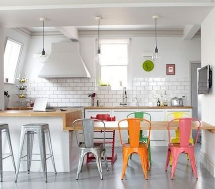 metal cafe chairs and white subway tile love