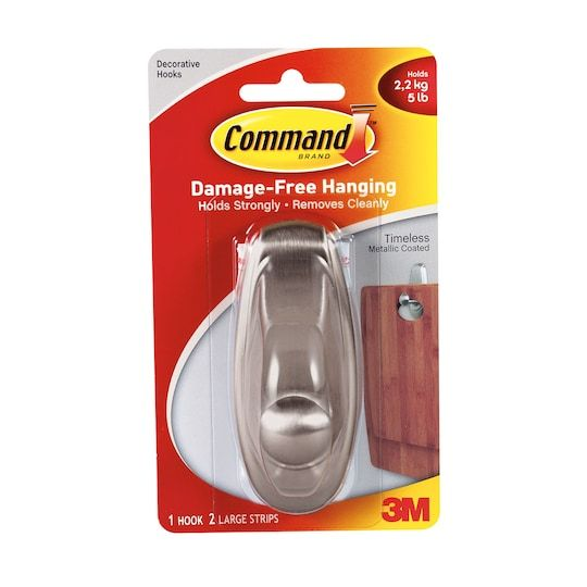 3m Command Timeless Brushed Nickel Finish Hook Large Michaels