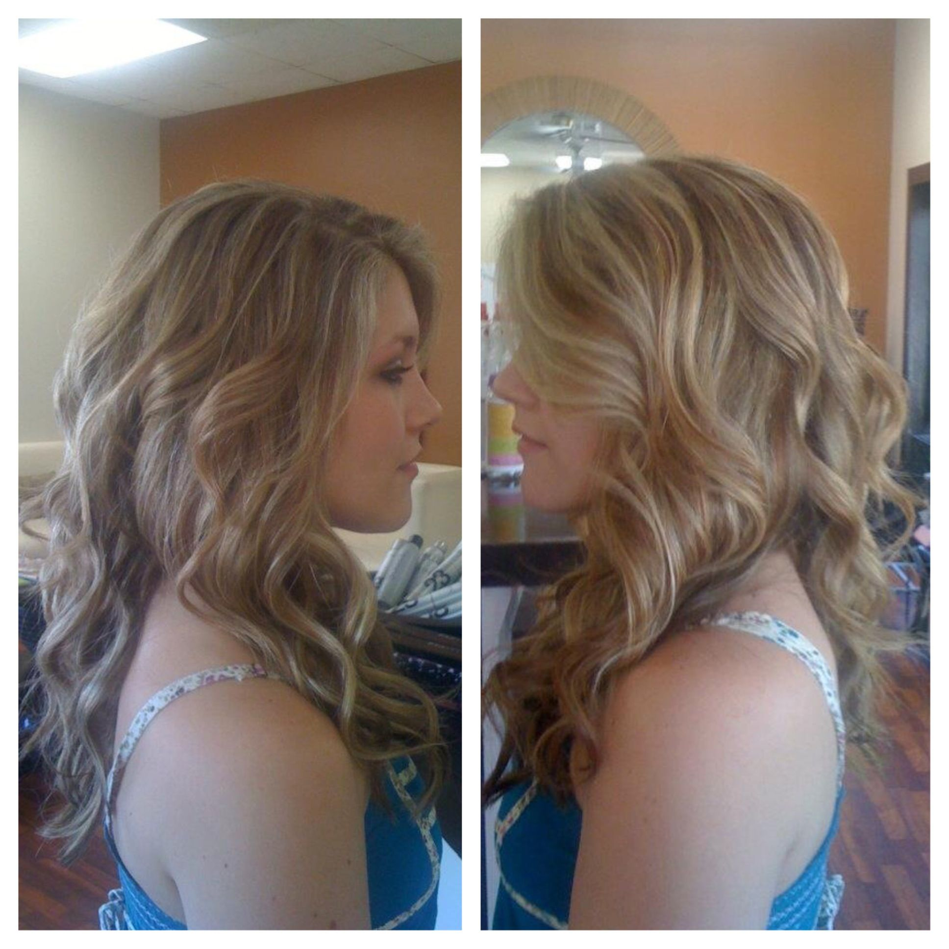 red and blonde hilights on long thick hair curly wavy Lex Moore
