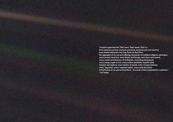 Carl Sagan Pale Blue Dot Quote Space Print Poster Pale
