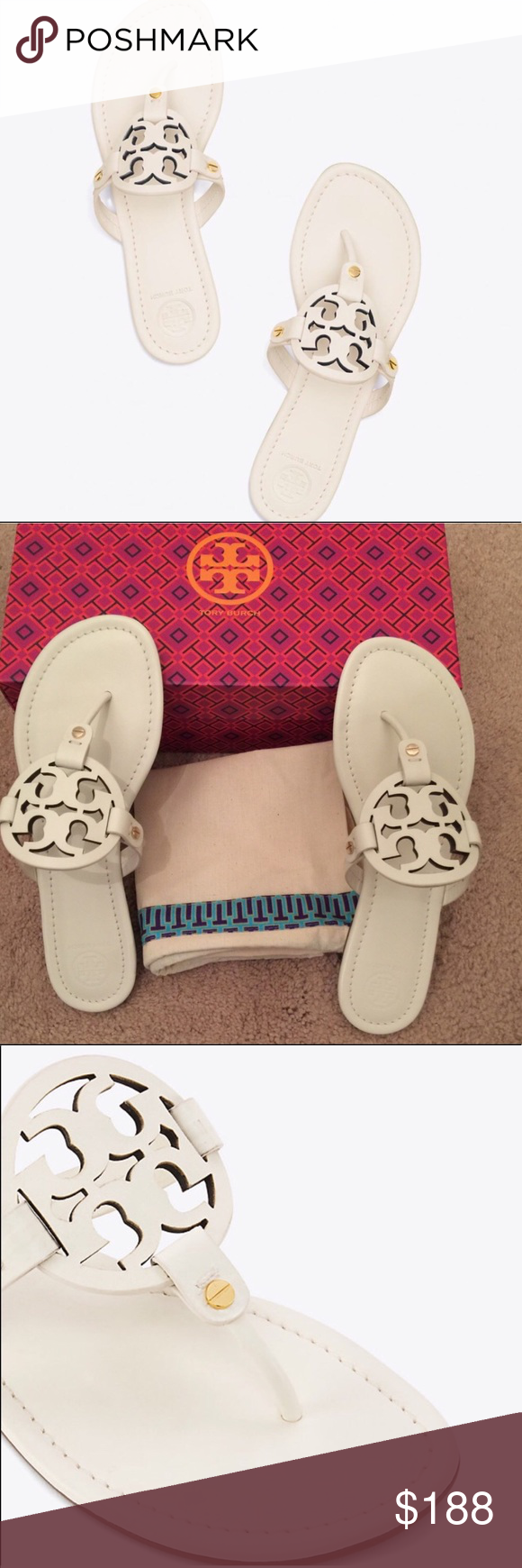 a21d7e2dbcc0 Tory Burch Miller Sandals Bleach 💯% authentic Tory Burch Miller sandals  NWT laser cut iconic double T logo strap cushioned footbed rubber sole  color is ...