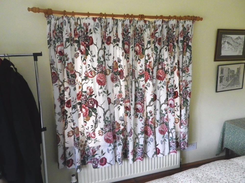 Vintage 1950s Sanderson Lined Cotton Curtains Tremayne Floral