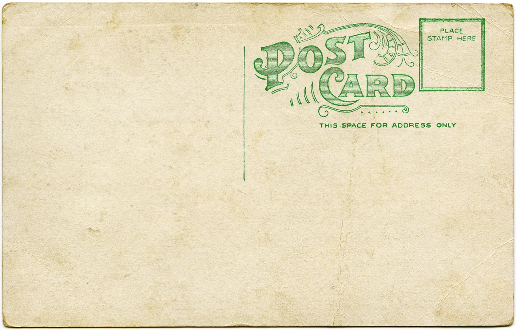 Aged Shabby Postcard Back Green Typography And Design