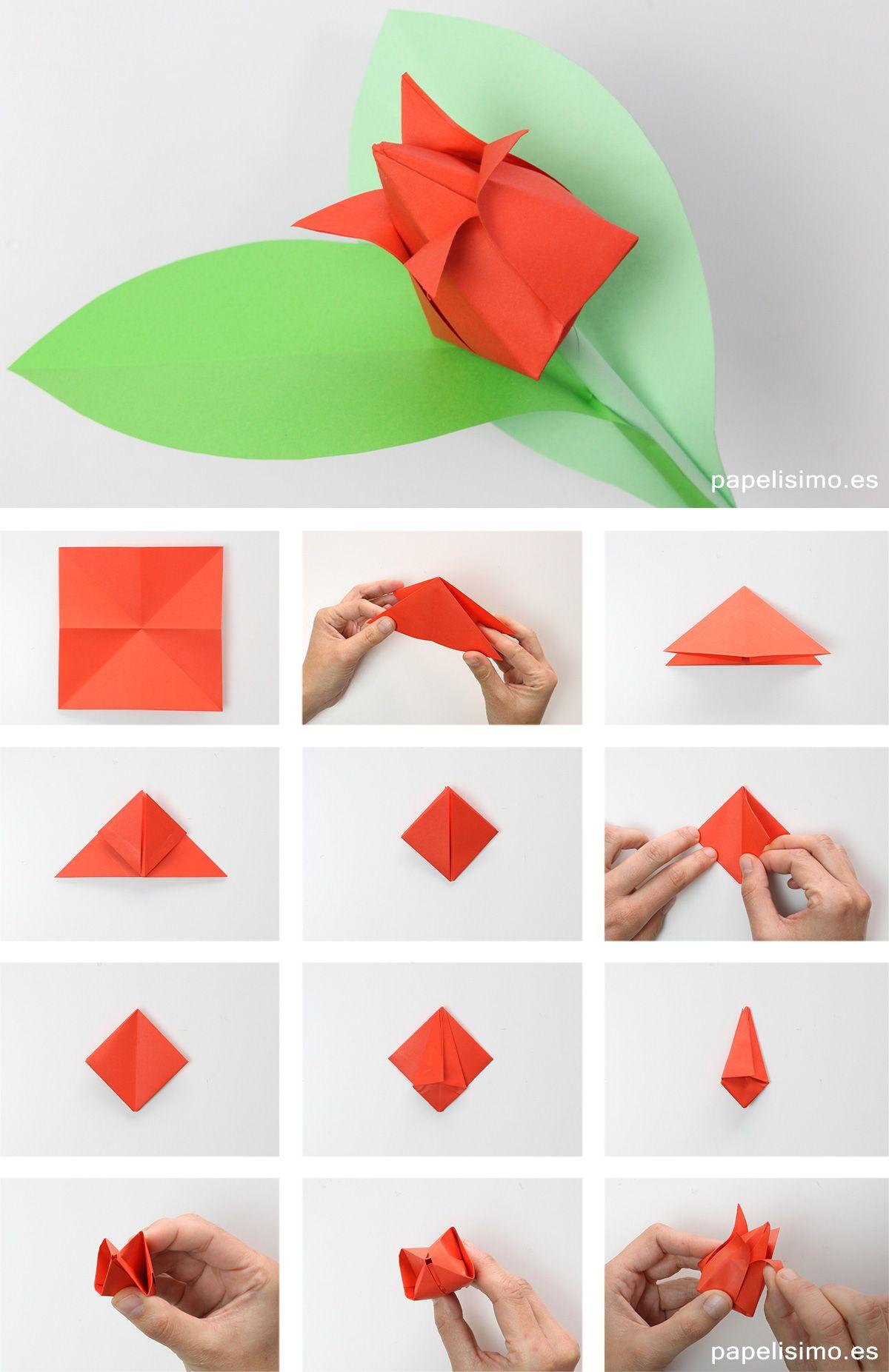 Como Hacer Tulipan De Papel Origami Tulip Flowers Como Hacer Origami Estrellas De Origami Tutorial De Origami